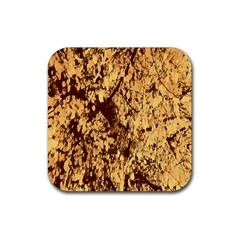 Abstract Brachiate Structure Yellow And Black Dendritic Pattern Rubber Square Coaster (4 Pack)