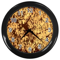 Abstract Brachiate Structure Yellow And Black Dendritic Pattern Wall Clocks (black)
