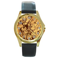 Abstract Brachiate Structure Yellow And Black Dendritic Pattern Round Gold Metal Watch