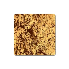 Abstract Brachiate Structure Yellow And Black Dendritic Pattern Square Magnet