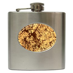 Abstract Brachiate Structure Yellow And Black Dendritic Pattern Hip Flask (6 Oz)