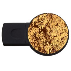 Abstract Brachiate Structure Yellow And Black Dendritic Pattern USB Flash Drive Round (1 GB)