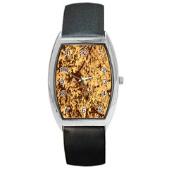 Abstract Brachiate Structure Yellow And Black Dendritic Pattern Barrel Style Metal Watch