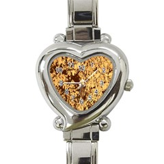 Abstract Brachiate Structure Yellow And Black Dendritic Pattern Heart Italian Charm Watch