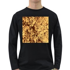 Abstract Brachiate Structure Yellow And Black Dendritic Pattern Long Sleeve Dark T-Shirts