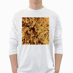Abstract Brachiate Structure Yellow And Black Dendritic Pattern White Long Sleeve T Shirts