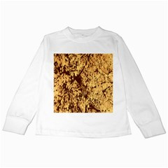 Abstract Brachiate Structure Yellow And Black Dendritic Pattern Kids Long Sleeve T Shirts