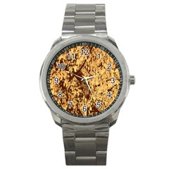 Abstract Brachiate Structure Yellow And Black Dendritic Pattern Sport Metal Watch