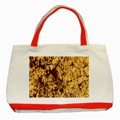 Abstract Brachiate Structure Yellow And Black Dendritic Pattern Classic Tote Bag (red)