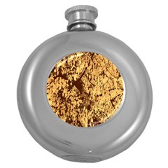 Abstract Brachiate Structure Yellow And Black Dendritic Pattern Round Hip Flask (5 oz)