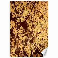 Abstract Brachiate Structure Yellow And Black Dendritic Pattern Canvas 12  X 18