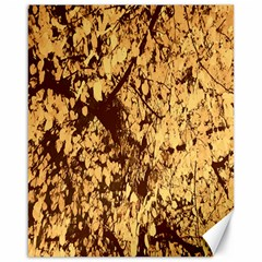 Abstract Brachiate Structure Yellow And Black Dendritic Pattern Canvas 16  x 20