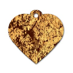 Abstract Brachiate Structure Yellow And Black Dendritic Pattern Dog Tag Heart (two Sides)