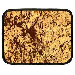 Abstract Brachiate Structure Yellow And Black Dendritic Pattern Netbook Case (Large)
