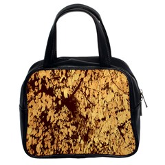 Abstract Brachiate Structure Yellow And Black Dendritic Pattern Classic Handbags (2 Sides)