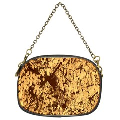 Abstract Brachiate Structure Yellow And Black Dendritic Pattern Chain Purses (Two Sides)