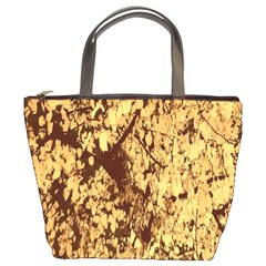Abstract Brachiate Structure Yellow And Black Dendritic Pattern Bucket Bags