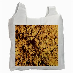 Abstract Brachiate Structure Yellow And Black Dendritic Pattern Recycle Bag (One Side)