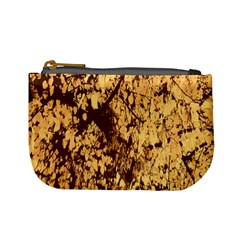 Abstract Brachiate Structure Yellow And Black Dendritic Pattern Mini Coin Purses