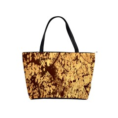 Abstract Brachiate Structure Yellow And Black Dendritic Pattern Shoulder Handbags