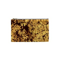 Abstract Brachiate Structure Yellow And Black Dendritic Pattern Cosmetic Bag (small)