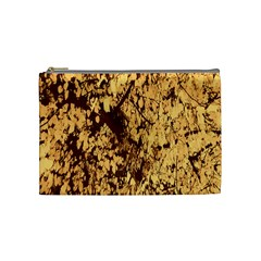 Abstract Brachiate Structure Yellow And Black Dendritic Pattern Cosmetic Bag (Medium)