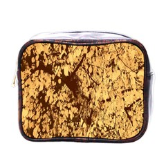 Abstract Brachiate Structure Yellow And Black Dendritic Pattern Mini Toiletries Bags