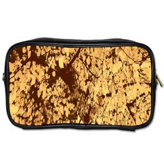 Abstract Brachiate Structure Yellow And Black Dendritic Pattern Toiletries Bags 2-Side