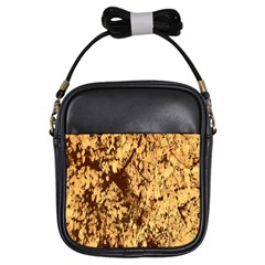 Abstract Brachiate Structure Yellow And Black Dendritic Pattern Girls Sling Bags