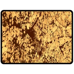 Abstract Brachiate Structure Yellow And Black Dendritic Pattern Fleece Blanket (large)