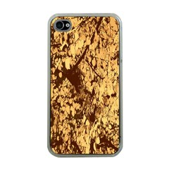 Abstract Brachiate Structure Yellow And Black Dendritic Pattern Apple iPhone 4 Case (Clear)