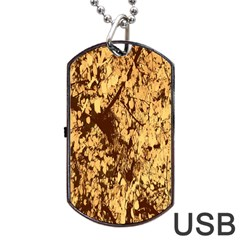 Abstract Brachiate Structure Yellow And Black Dendritic Pattern Dog Tag Usb Flash (two Sides)