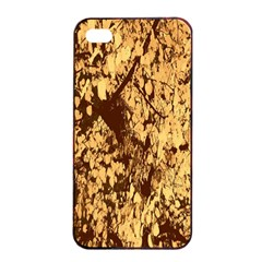 Abstract Brachiate Structure Yellow And Black Dendritic Pattern Apple Iphone 4/4s Seamless Case (black)