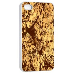 Abstract Brachiate Structure Yellow And Black Dendritic Pattern Apple iPhone 4/4s Seamless Case (White)