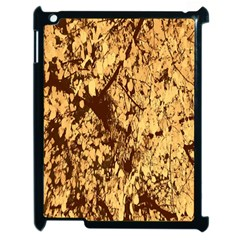 Abstract Brachiate Structure Yellow And Black Dendritic Pattern Apple iPad 2 Case (Black)