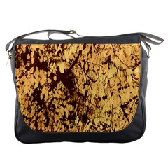 Abstract Brachiate Structure Yellow And Black Dendritic Pattern Messenger Bags