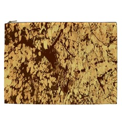 Abstract Brachiate Structure Yellow And Black Dendritic Pattern Cosmetic Bag (XXL)