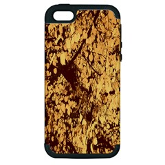 Abstract Brachiate Structure Yellow And Black Dendritic Pattern Apple Iphone 5 Hardshell Case (pc+silicone)
