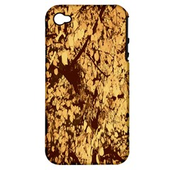 Abstract Brachiate Structure Yellow And Black Dendritic Pattern Apple Iphone 4/4s Hardshell Case (pc+silicone)