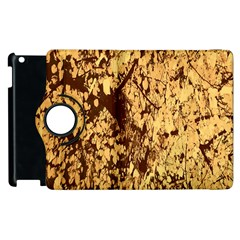 Abstract Brachiate Structure Yellow And Black Dendritic Pattern Apple iPad 2 Flip 360 Case