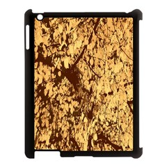 Abstract Brachiate Structure Yellow And Black Dendritic Pattern Apple iPad 3/4 Case (Black)