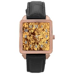 Abstract Brachiate Structure Yellow And Black Dendritic Pattern Rose Gold Leather Watch