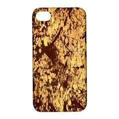 Abstract Brachiate Structure Yellow And Black Dendritic Pattern Apple Iphone 4/4s Hardshell Case With Stand
