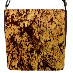 Abstract Brachiate Structure Yellow And Black Dendritic Pattern Flap Messenger Bag (S)