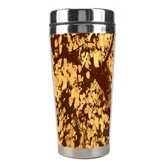 Abstract Brachiate Structure Yellow And Black Dendritic Pattern Stainless Steel Travel Tumblers