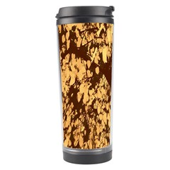 Abstract Brachiate Structure Yellow And Black Dendritic Pattern Travel Tumbler
