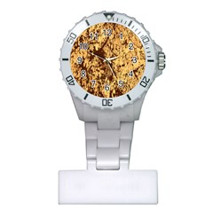 Abstract Brachiate Structure Yellow And Black Dendritic Pattern Plastic Nurses Watch