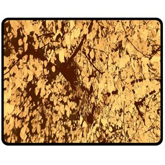 Abstract Brachiate Structure Yellow And Black Dendritic Pattern Double Sided Fleece Blanket (Medium)