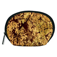 Abstract Brachiate Structure Yellow And Black Dendritic Pattern Accessory Pouches (Medium)
