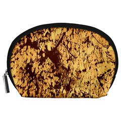 Abstract Brachiate Structure Yellow And Black Dendritic Pattern Accessory Pouches (Large)